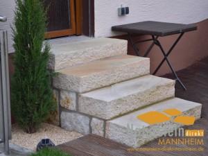Sandstein Blockstufen Lemon-Mint